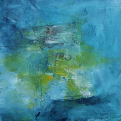 STRO, light blue, green yellow abstract painting.
