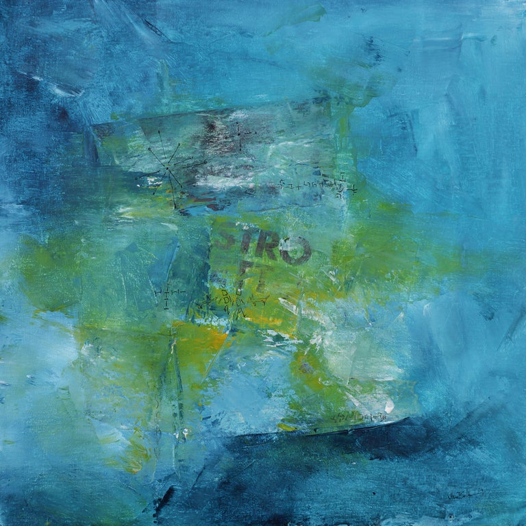 Stro Light Blue Green Yellow Abstract Painting