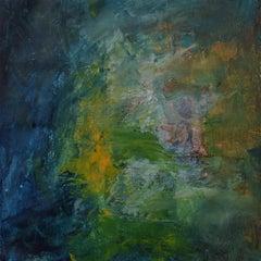 The Watchman, dark green, orange, yellow abstract painting.