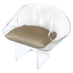 Robert Van Horn Lucite Ribbon Lounge Chair, Signed