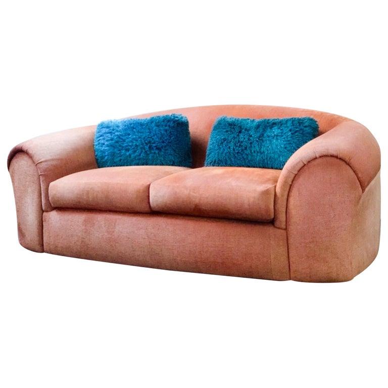Textile Robert Venturi Knoll 'Grandma' Loveseat Sofa Chenille, 1984, Postmodern Couch For Sale