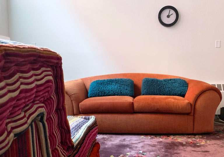 Robert Venturi for Knoll 'Grandma' Postmodern sofa Rasberry orange Chenille 1984, rare piece. Gorgeous lines. From the famed architects 1984 collaboration with Knoll. Iconic curved back and delightful, proportions, super comfortable as well. Very