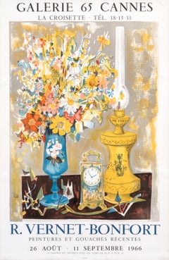 """""""R. Vernet-Bonfort - Galerie 65 Cannes"""" Original Vintage Exhibition Poster"""