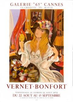 """""""Vernet-Bonfort - Galerie 65 Cannes"""" Original Vintage Exhibition Poster"""