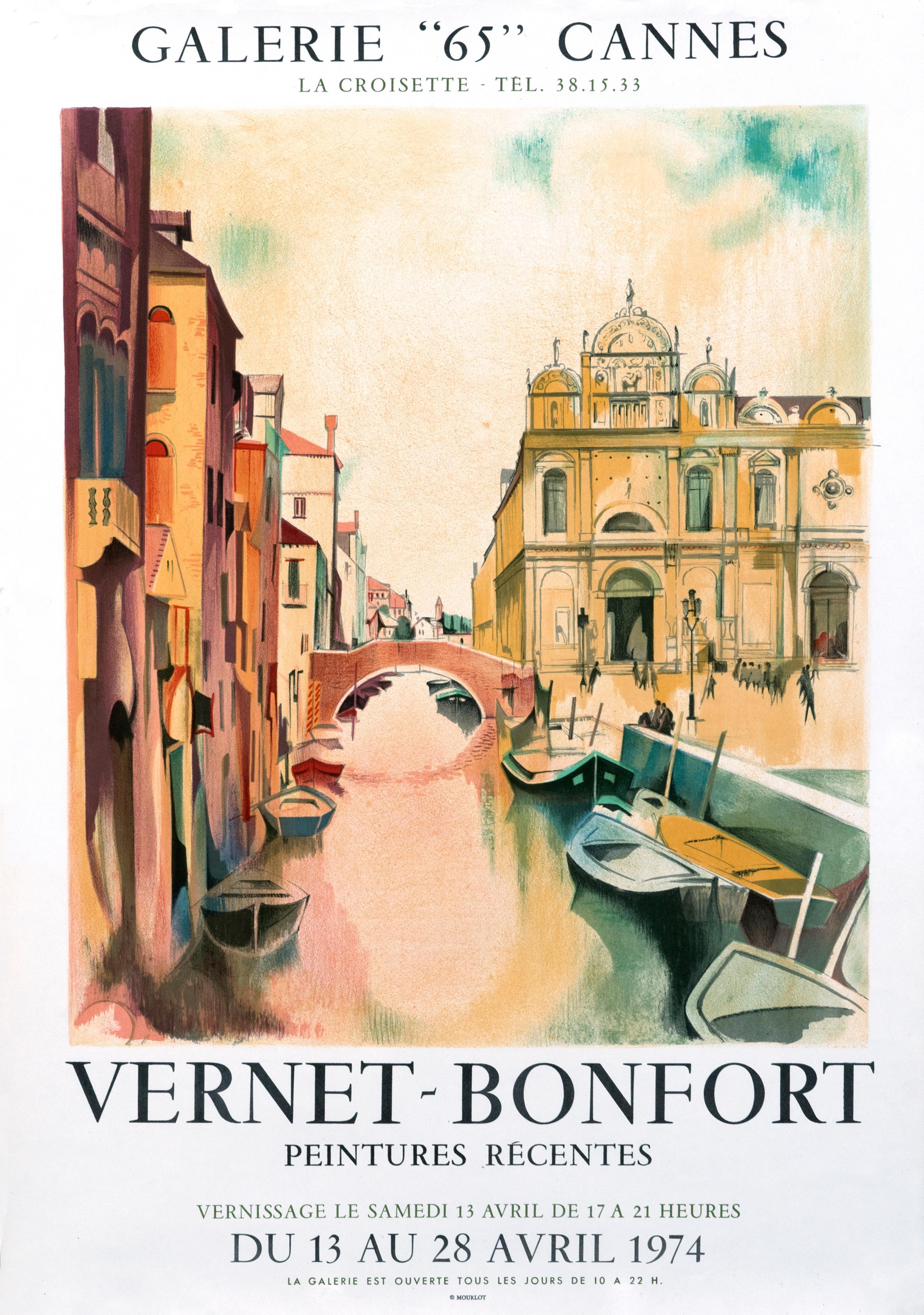"""Vernet-Bonfort - Galerie 65 Cannes"" Original Vintage Exhibition Venice Poster"