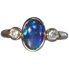 Robert Vogelsang 1.26 Carat Natural Black Opal Diamond Rose Gold Engagement Ring