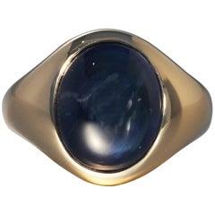 Robert Vogelsang 13.22 Carat Blue Sapphire Cabochon Rose Gold Ring