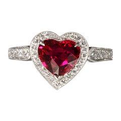 Robert Vogelsang 1.46 Carat Natural Ruby Heart Diamond Platinum Engagement Ring