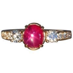 Robert Vogelsang 1.63 Carat Natural Star Ruby Diamond Rose Gold Engagement Ring