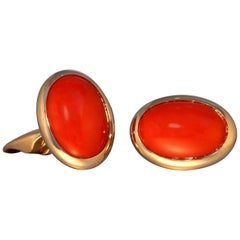 Robert Vogelsang 18.81 Carat Oval Red Coral 18 Karat Rose Gold Cufflinks