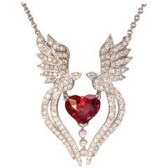 Robert Vogelsang 1.89 Carat Spinel Heart Diamond Platinum Pendant Necklace