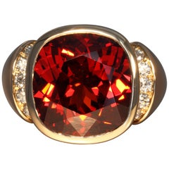 Robert Vogelsang 24.22 Carat Red Garnet Diamond Rose Gold Cocktail Ring