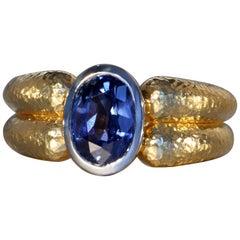 Robert Vogelsang 3.07 Carat Natural Blue Sri Lanka Sapphire Gold Ring
