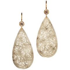 Robert Vogelsang 37.90 Carat Jade Drop and Diamond Rose Gold Dangling Earrings