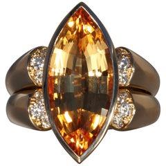 Robert Vogelsang 9.55 Carat Imperial Topaz Diamond Rose Gold Cocktail Ring