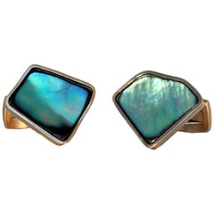 Robert Vogelsang Mother of Pearl 18 Karat Rose Gold Cufflinks
