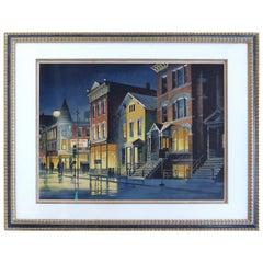 Robert W. Addison Artist's Proof Print, Night Cityscape