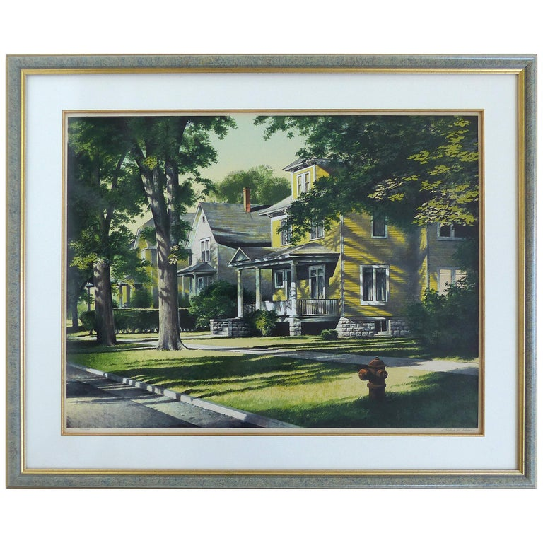 "Robert W. Addison Lithograph Signed, Numbered, ""The Yellow House"" For Sale"