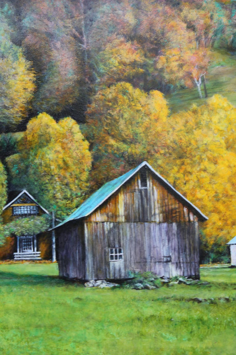 Autumn Naturalistic Landscape with a Cabin - Painting by Robert W. Boyle
