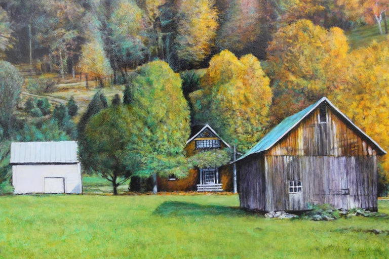 Autumn Naturalistic Landscape with a Cabin - Realist Painting by Robert W. Boyle