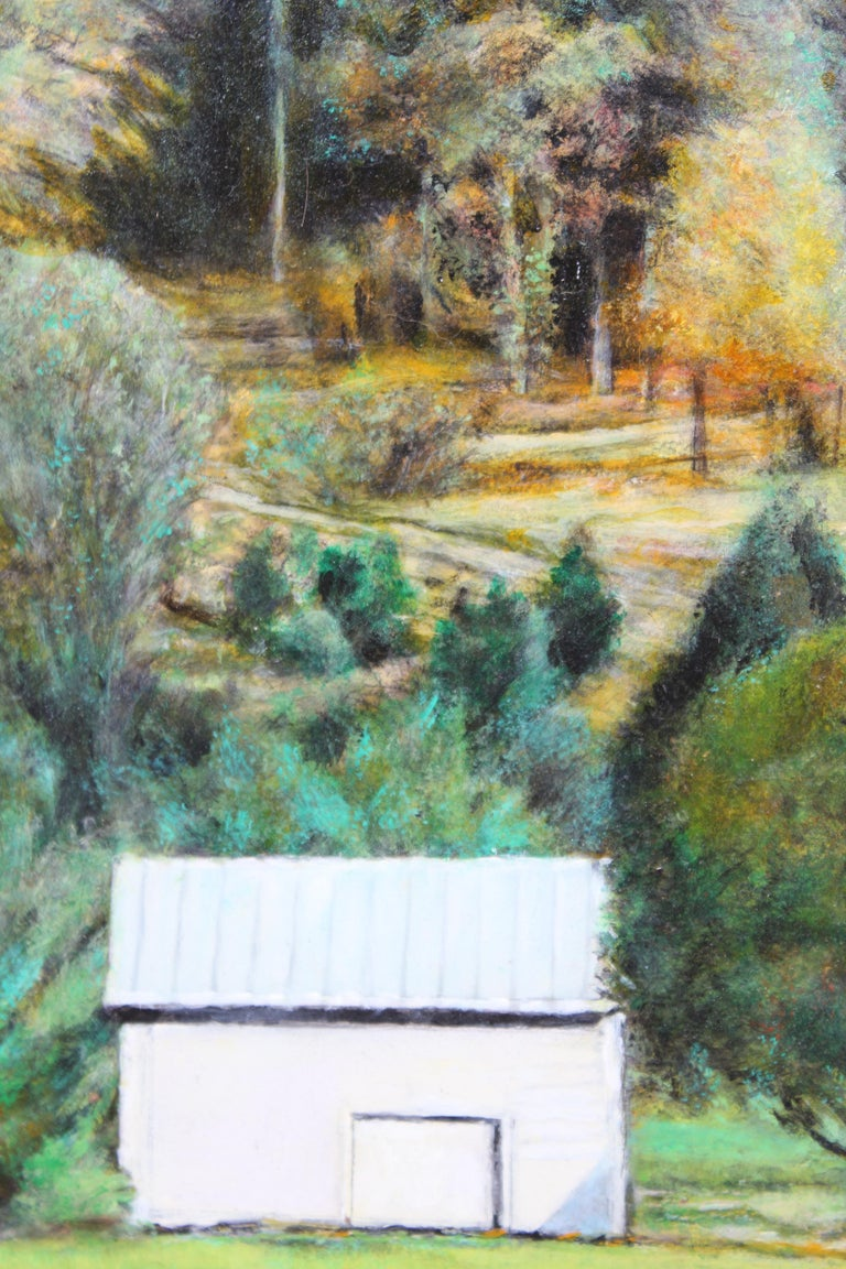 Autumn Naturalistic Landscape with a Cabin - Gray Landscape Painting by Robert W. Boyle