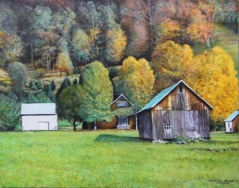 Robert W. Boyle Landscape Painting - Autumn Naturalistic Landscape with a Cabin