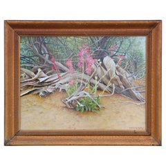 Dried Desert Brush with Pink Flowers Realist Painting