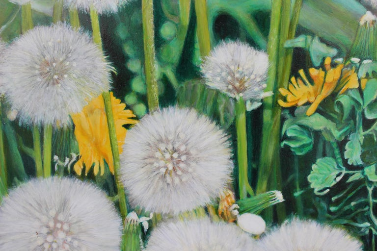 Close Up Painting with Dandelions For Sale 1