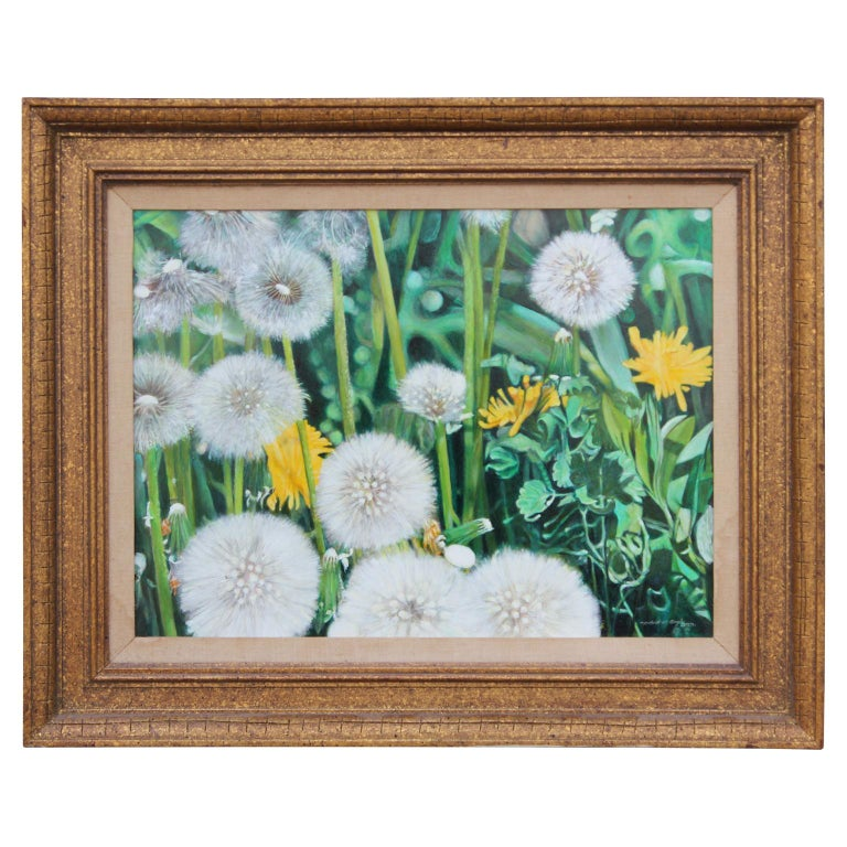Bold up close painting of dandelions in the grass by artist Robert W. Boyle, dated 2001. Signed and dated in lower right corner.  Artist Biography: Robert W. Boyle was born in 1925 and was primarily active in Texas. He was known for his soft,