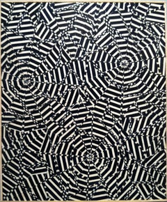 Hard Drawing - For Louise B, black and white abstract geometric painting