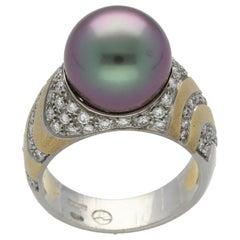 Robert Wan Peacock Tahitian Cultured Pearl Diamonds Platinum Gold Ring