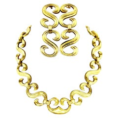 Robert Wander 18 Karat Gold Necklace and Earrings en Suite, France