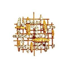 Robert Wander 18 Karat Gold, Platinum and Diamond Brooch