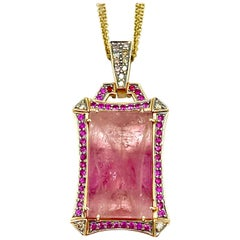 Robert Wander 35.17 Carat Emerald Cut Pink Tourmaline and Diamond Necklace