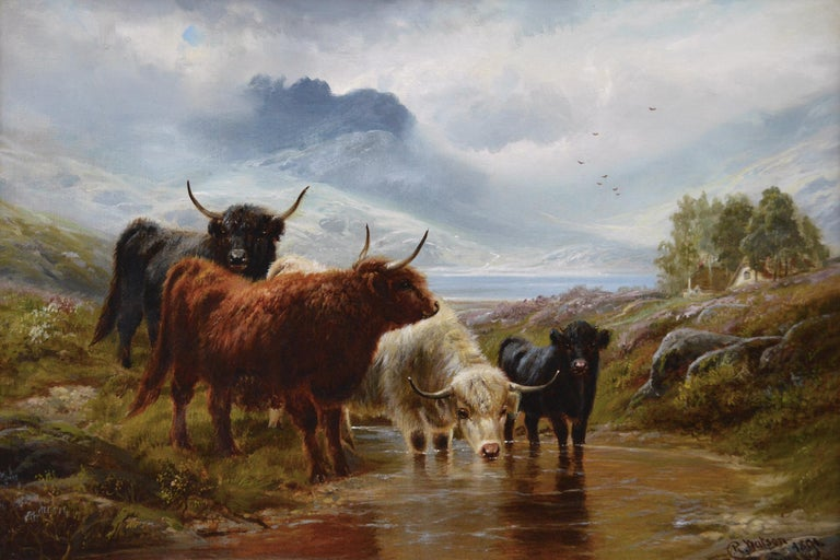 19th Century Scottish landscape oil painting of Highland Cattle  - Painting by Robert Watson