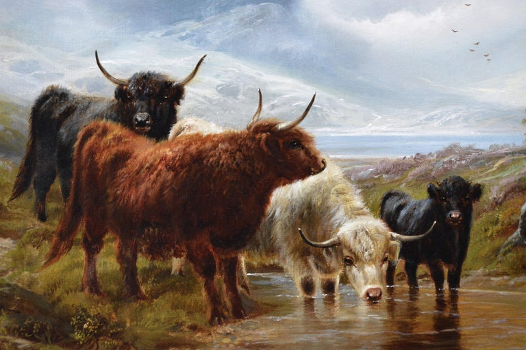 19th Century Scottish landscape oil painting of Highland Cattle  - Victorian Painting by Robert Watson