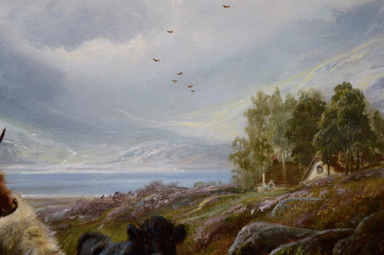 19th Century Scottish landscape oil painting of Highland Cattle  - Brown Landscape Painting by Robert Watson