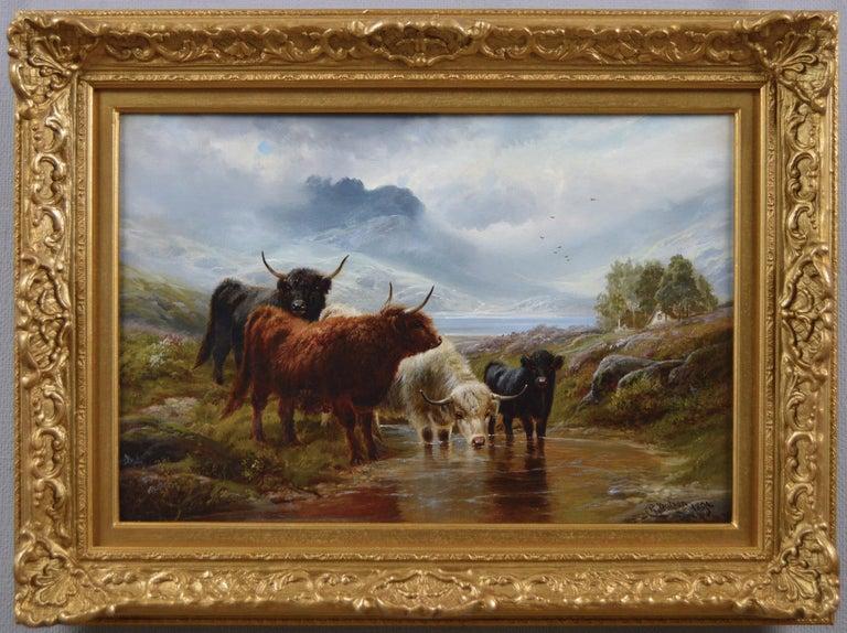 Robert Watson Landscape Painting - 19th Century Scottish landscape oil painting of Highland Cattle