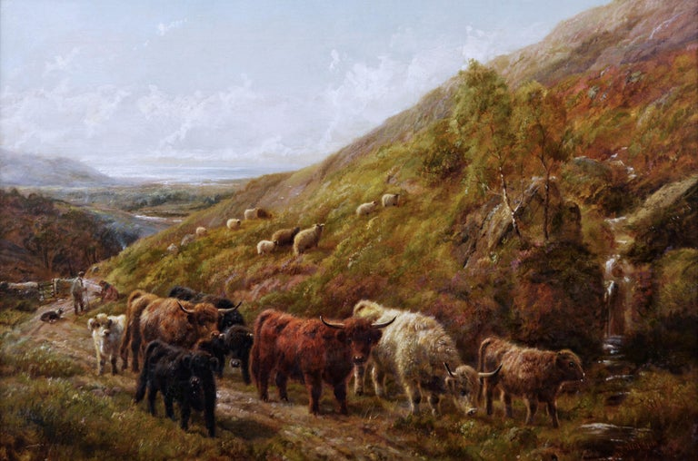 Scottish landscape oil painting of highland cattle near a coast - Painting by Robert Watson