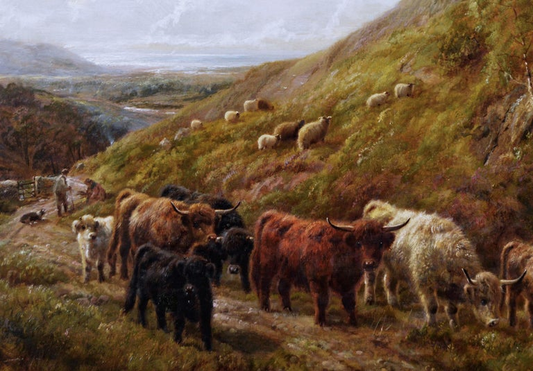 Scottish landscape oil painting of highland cattle near a coast - Victorian Painting by Robert Watson