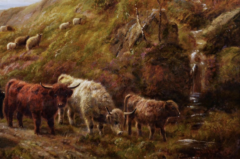 Scottish landscape oil painting of highland cattle near a coast - Brown Animal Painting by Robert Watson