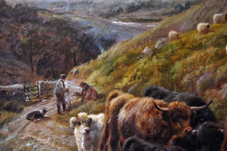 Robert Watson British, (1855-1921) Highland Cattle by the Coast Oil on canvas, signed & dated 1910 Image size: 19.75 inches x 29.75 inches  Size including frame: 27 inches x 37 inches  Robert William Watson was born on 9 March 1855 at 33 Marlborough