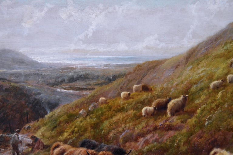 Scottish landscape oil painting of highland cattle near a coast For Sale 1