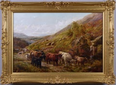 Scottish landscape oil painting of highland cattle near a coast