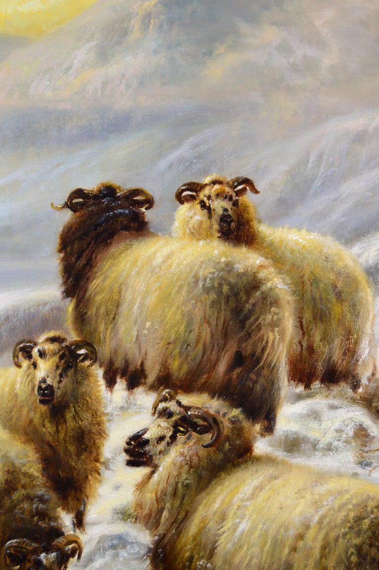 Scottish landscape oil painting of sheep in the winter Highlands - Victorian Painting by Robert Watson