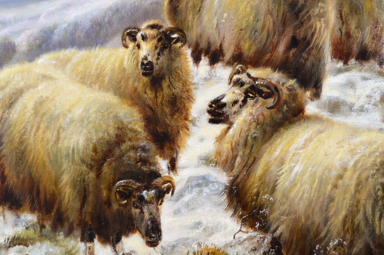 Scottish landscape oil painting of sheep in the winter Highlands - Brown Animal Painting by Robert Watson