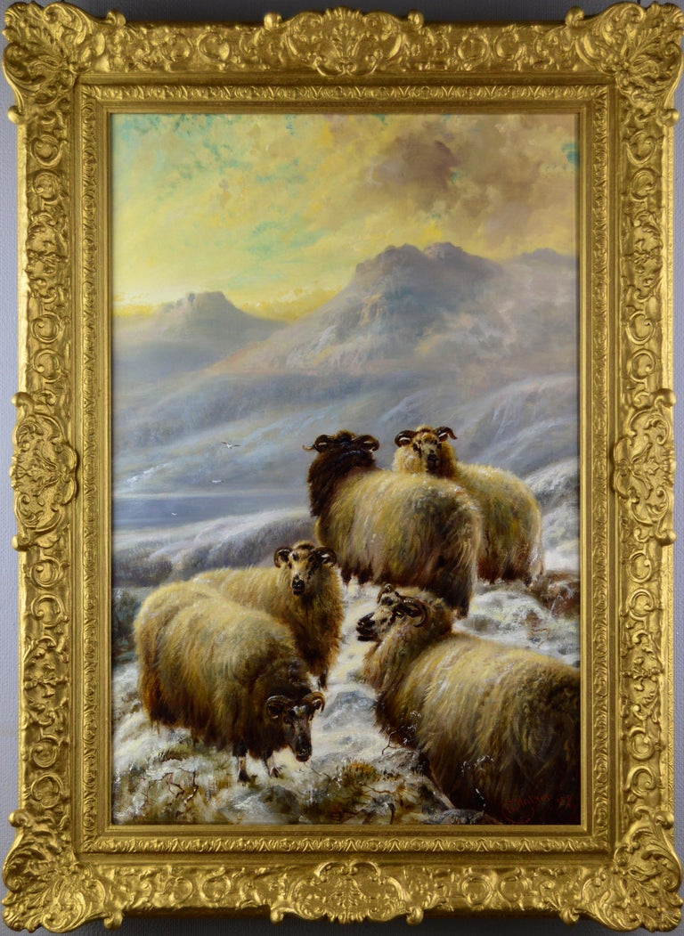 Robert Watson Animal Painting - Scottish landscape oil painting of sheep in the winter Highlands