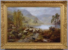 Scottish landscape oil painting of sheep near a Highland Loch