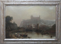 Whitby Harbour and Abbey - British 19th century Victorian landscape oil painting