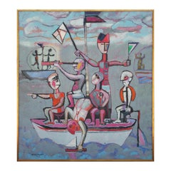 Cubist Cool Toned Abstract Picasso Style Boat at Sea Impressionist Landscape
